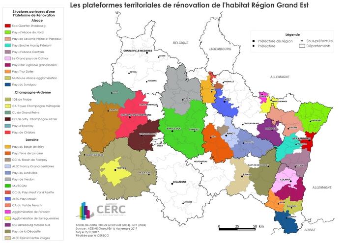 Carte des plateformes territoriales de rénovation de l'habitat Région Grand Est (nouvelle fenêtre). Voir descriptif détaillé ci-après